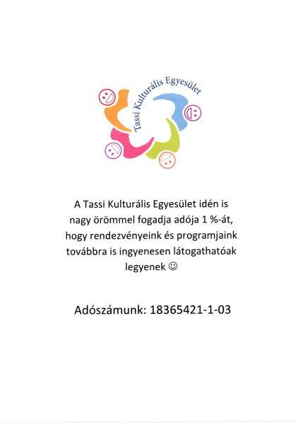 1 % adó adományozás Tassi Kultúrális Egyesület