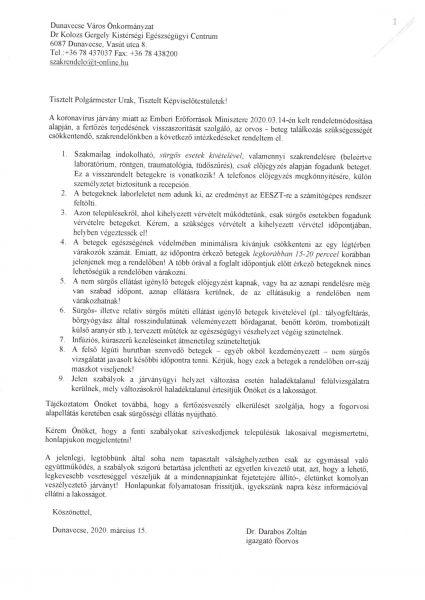 Dr Kolozs Gergely Kistérségi Egészségügyi Centrum -tájékoztatója