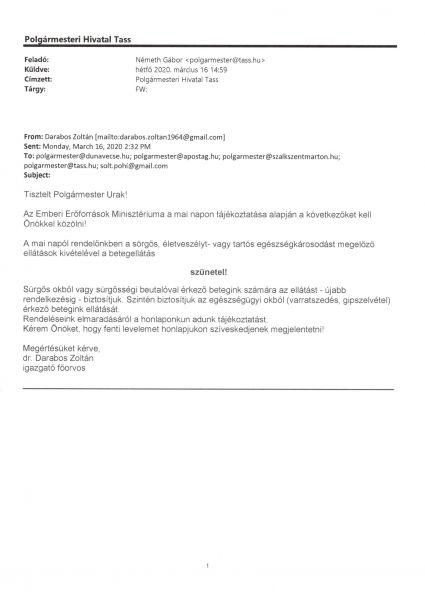 dr Kolozs szakrendelő tájékoztatás