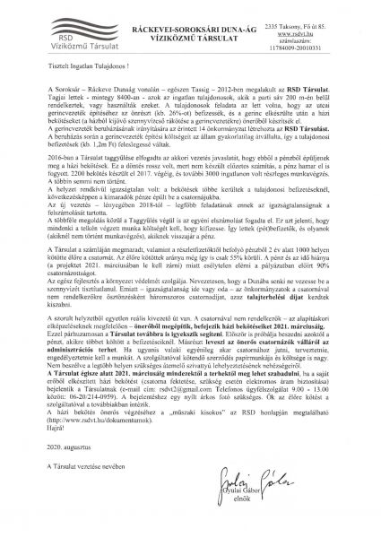 RSD Tájékoztató ingatlantulajdonosoknak