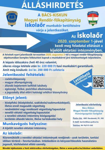iskolaőr álláshirdetés plakát