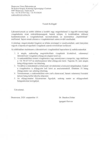 Dunavecse Város Kistérségi Egészségügyi Centrum - tájékoztató labor vizsgálat