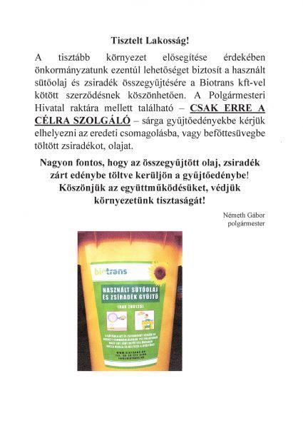 Biotrans- használt sütőolaj és zsiradék gyűjtőedény